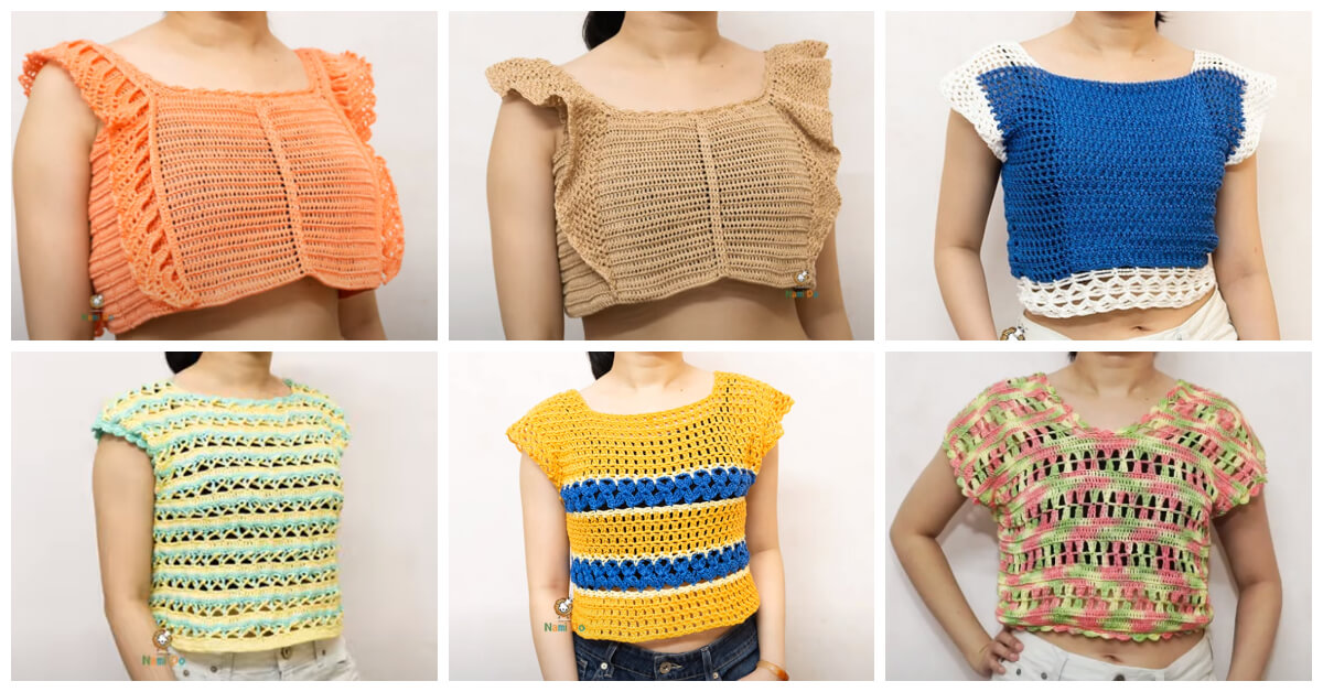 Learn to Crochet - These 6 Easy Crochet Summer Tops are easy to mix and match with any jeans or skirt.