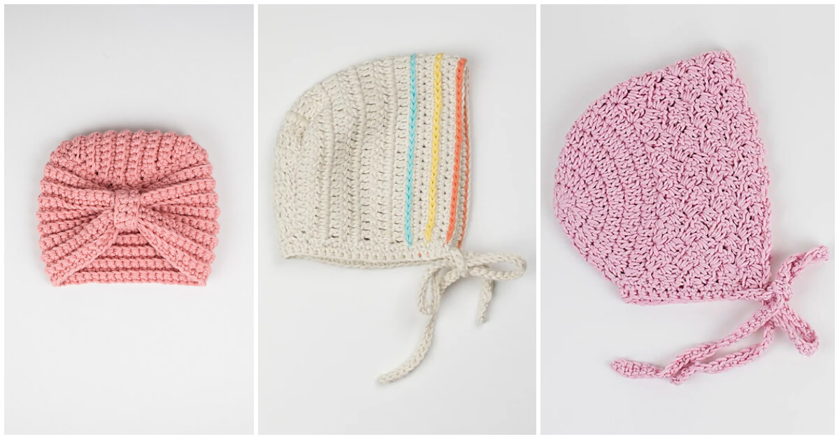 These Top 3 Crochet Baby Bonnet Patterns make great gifts! Crochet baby bonnet projects are super easy to make and you can wrap up the entire hat with just one skein of yarn.