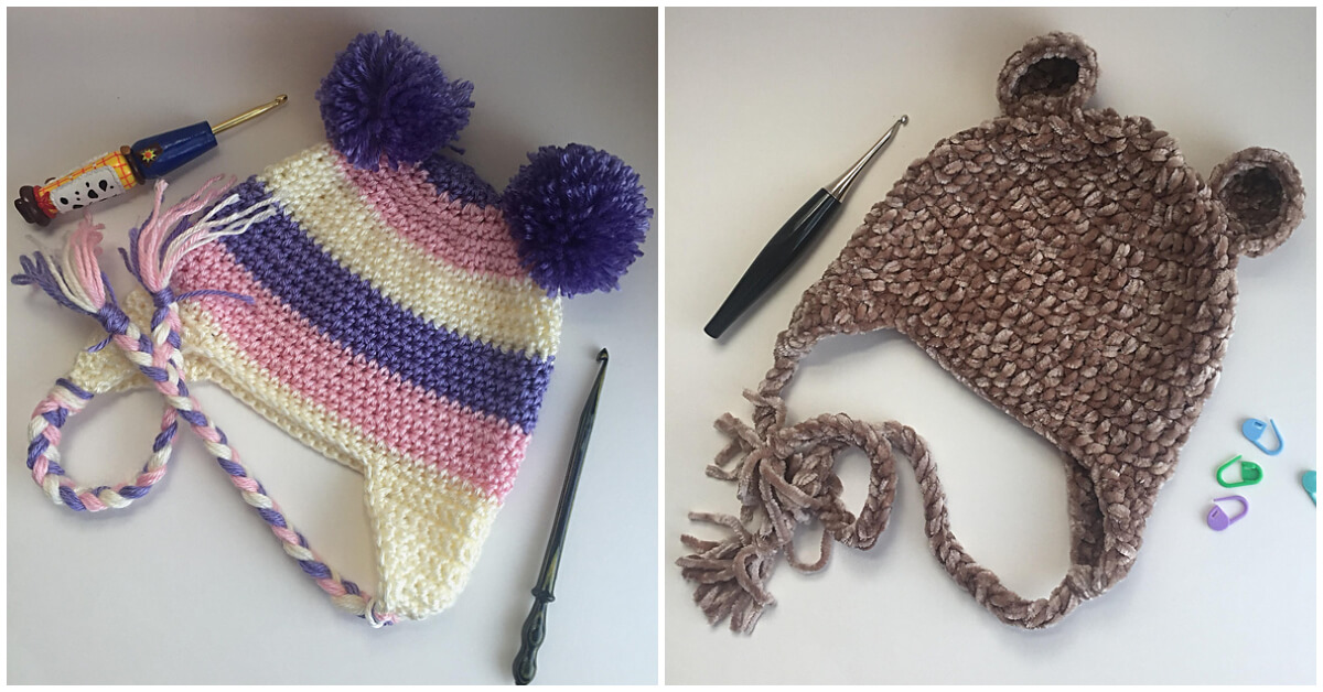 These Top 3 Crochet Earflap Hat are great basic designed to be worked in a continuous round to eliminate an unsightly seam running down the back of the hat.