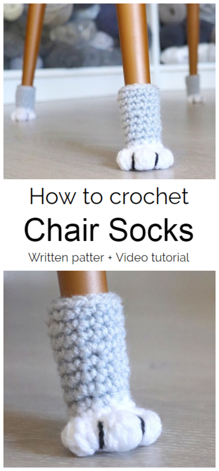 Today we are going to learn How to Crochet Chair Socks. This super easy crochet pattern is a clever way to protect your floors as well as the bottom of your chairs.